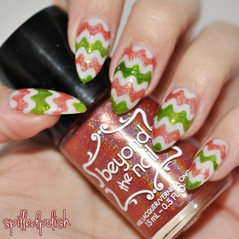 Christmas Squiggles nail art by Maddy S