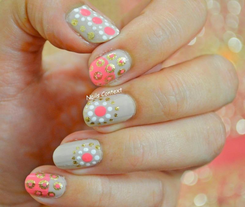 Coral And Beige Nail Art nail art by NailsContext