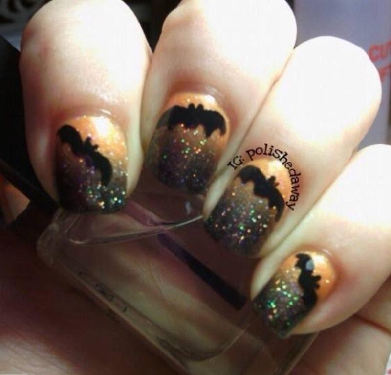Halloween Bats nail art by Shanna Beam