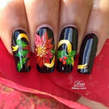 Christmas flower nail art by Dess_sure