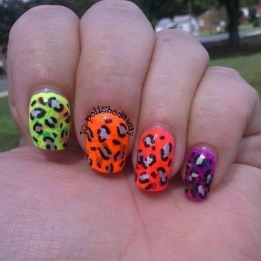 Neon Skittle Leopard Nails nail art by Shanna Beam