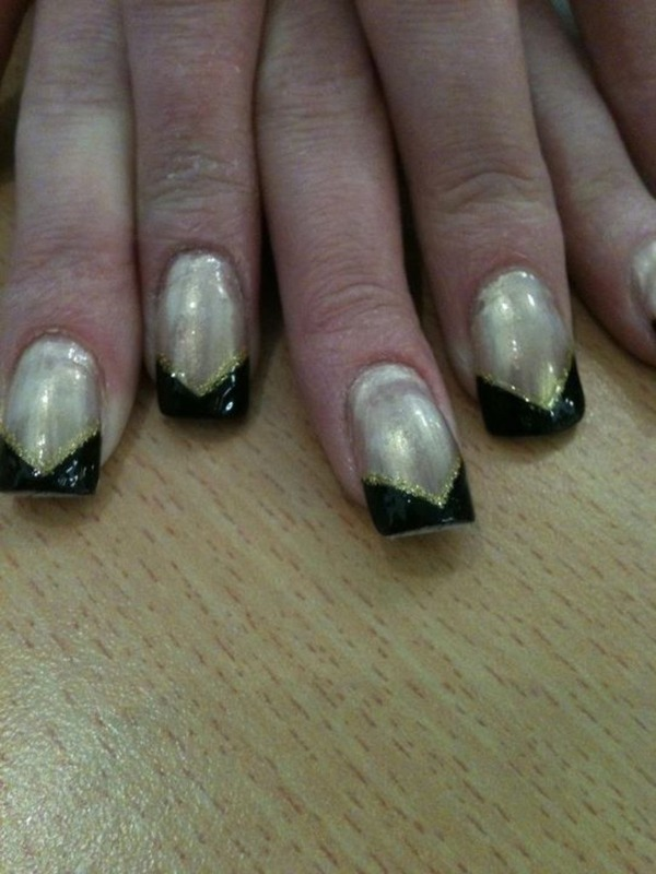 Black French  nail art by Tiger Carla
