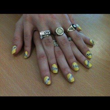 Yellow zebra nail art by Tiger Carla