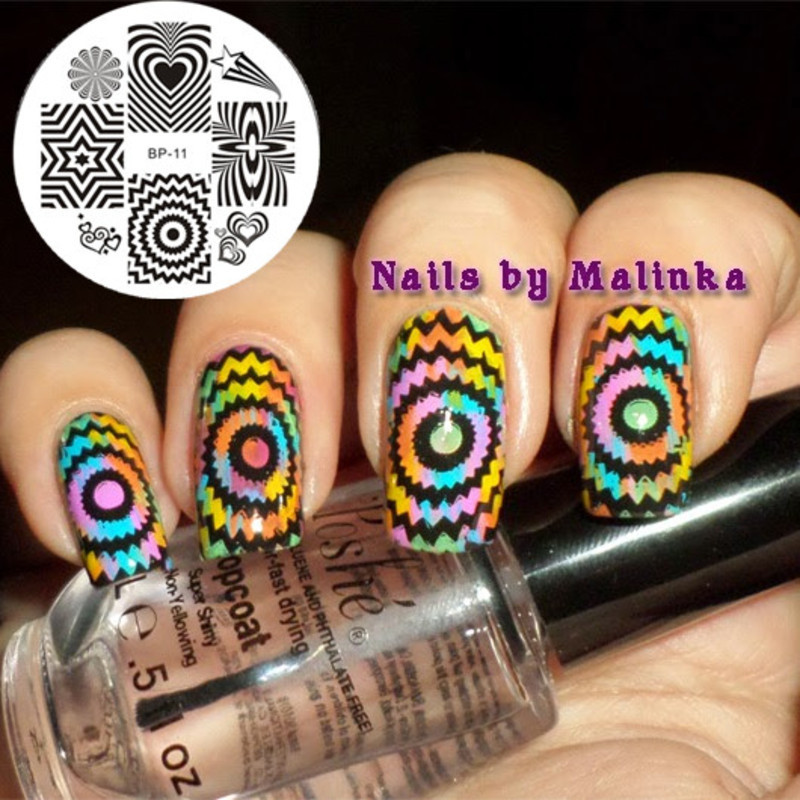 Gorgeous Colored Radiating World Stamping Nails nail art by Born Pretty