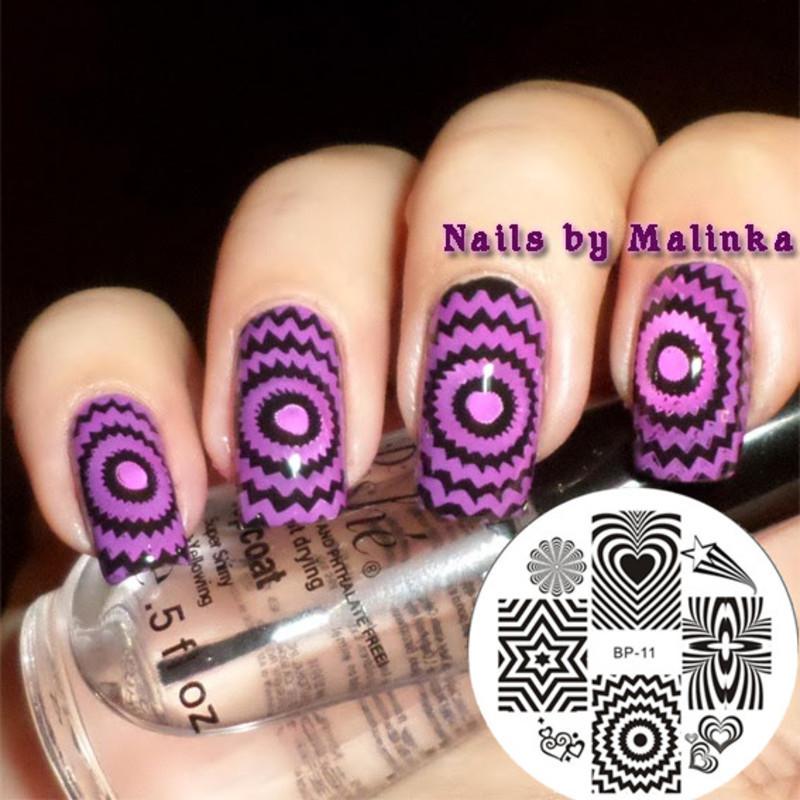 Pretty Purple Radiating World Stamping Nails nail art by Born Pretty