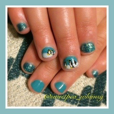 Penguins in the Blue (Kids Nails) nail art by SweetPea_Whimsy