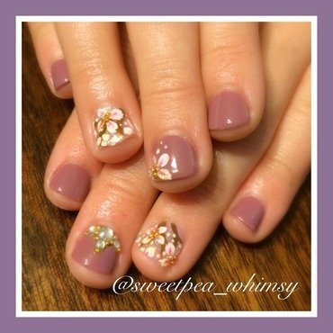 Lavender & Blossoms (Kids Nails) nail art by SweetPea_Whimsy