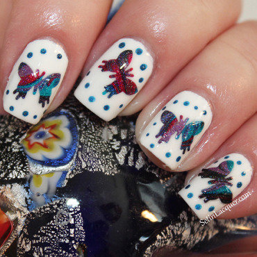 Holographic DIY Butterfly Decals nail art by SetinLacquer