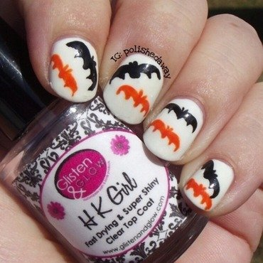 Halloween Glow-in-the-Dark Bats nail art by Shanna Beam