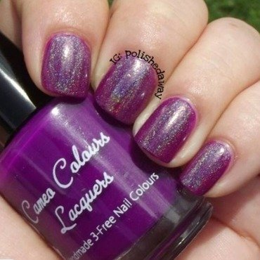 Cameo Colours Lacquers Indigo and Cameo Colours Lacquers Spectacular Spectacular! Holographic Top Coat Swatch by Shanna Beam