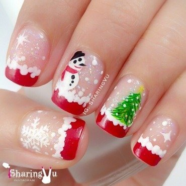 ❄️⛄️🎄❤️ Merry Christmas ❤️🎄⛄️❄️ nail art by SharingVu