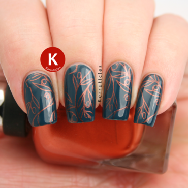 Teal stamped with copper leafy plants nail art by Claire Kerr