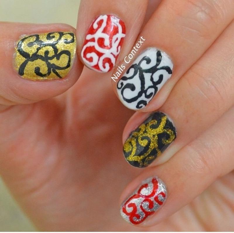 Holiday Swirls nail art by NailsContext