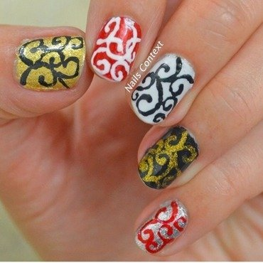 Holiday Swirls nail art by NailsContext