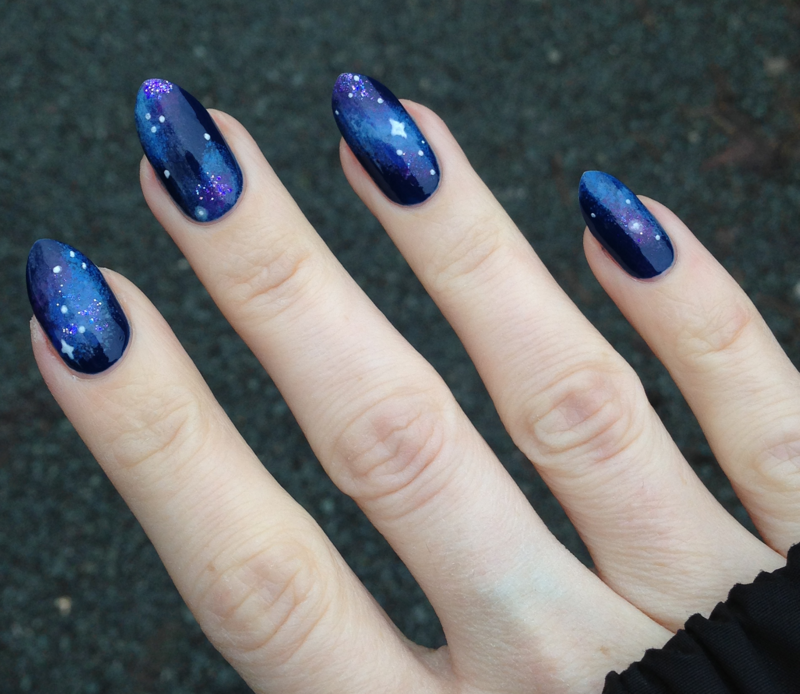 Galaxy nail art by MyMintNails