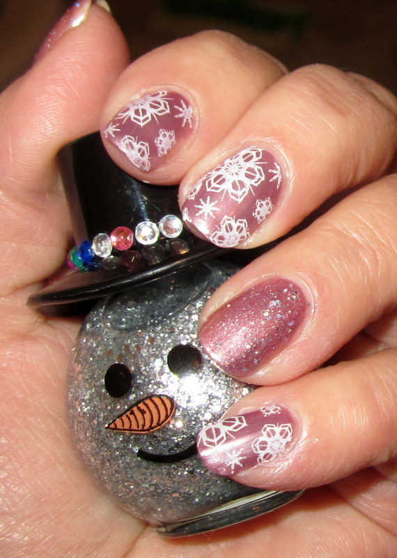 Pink Champagne Snow Flakes nail art by HELEN KAY
