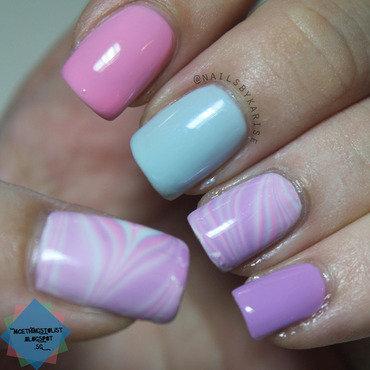Pastel water marble nail art thumb370f