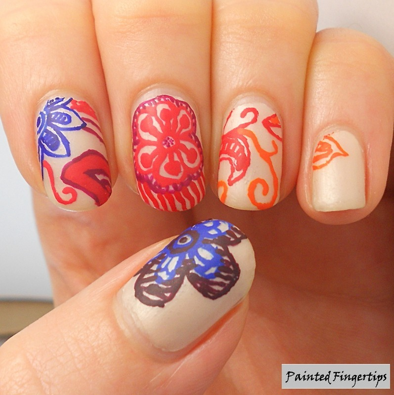 Multicoloured Henna nail art by Kerry_Fingertips