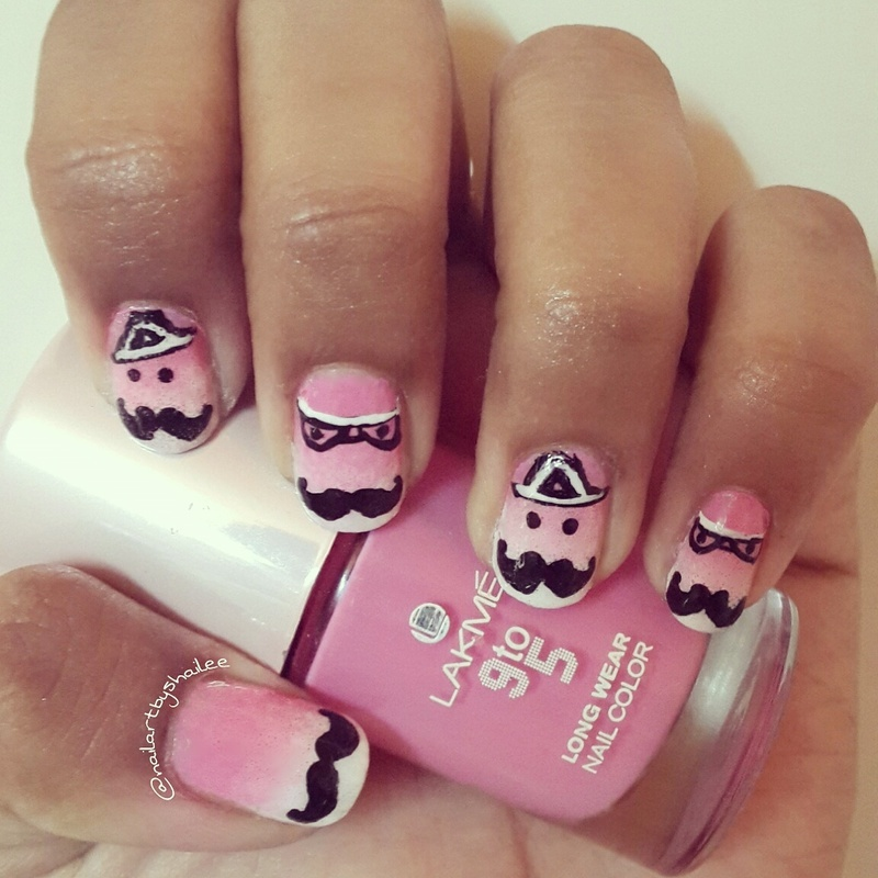 Moustache nails art on pink ombre base! nail art by Shailee
