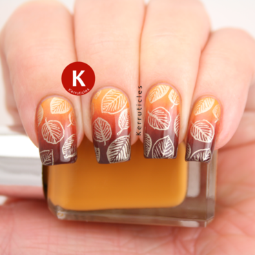 Autumnal leaves / fall leaves nail art by Claire Kerr