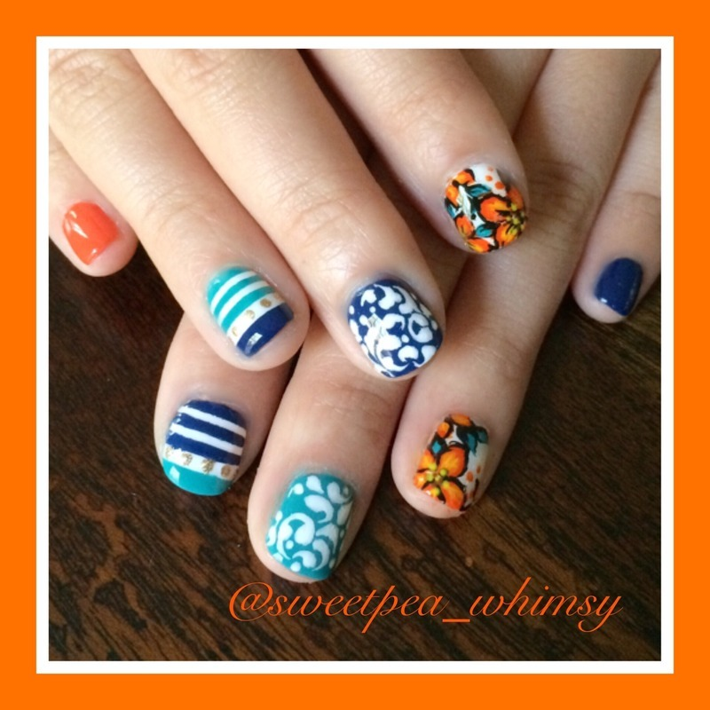 Orange, Blue, Aqua & White Variety nail art by SweetPea_Whimsy