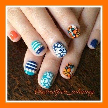 Orange, Blue, Aqua & White Variety nail art by SweetPea_Whimsy