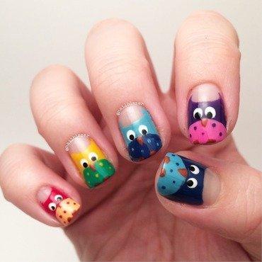 Rainbow Owls nail art by Nailblazer