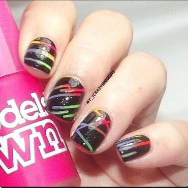 Neon Gradient & Striping Tape nail art by Mycrazydesigns
