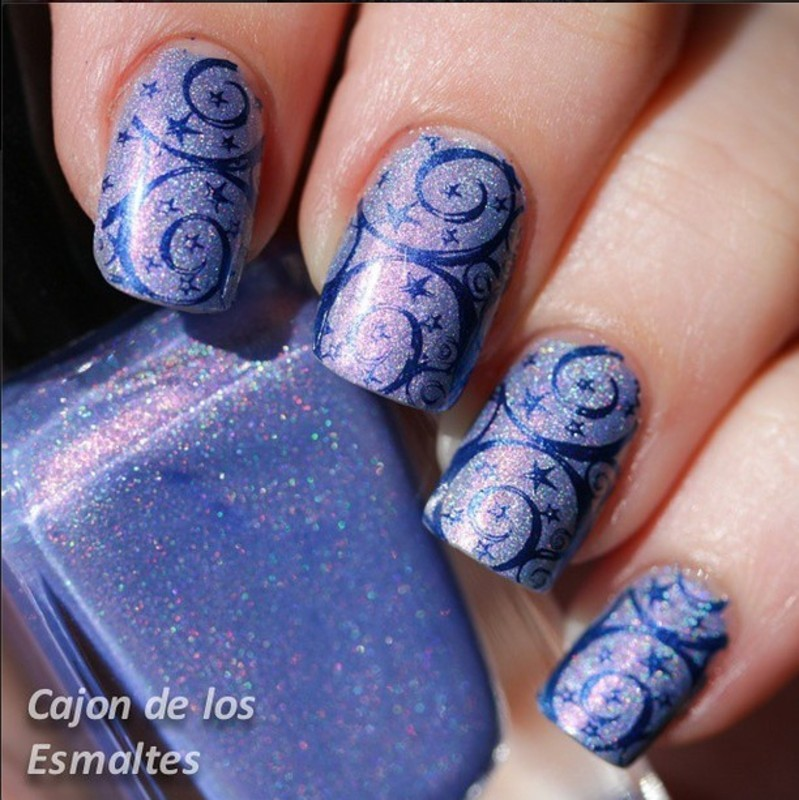 Dazzling Purple Arabesque Staming Nails nail art by Born Pretty