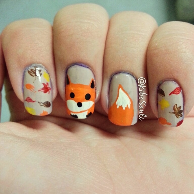 November Challenge Day 23 Fox nail art by KiboSanti