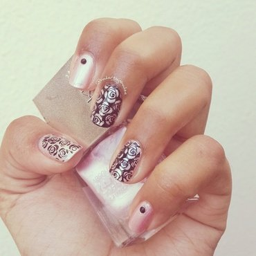 Stamped roses! nail art by Shailee