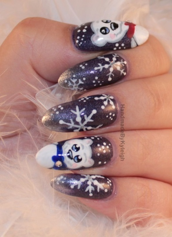 Polar Bears nail art by  Kyleigh  'Handmade By Kyleigh'
