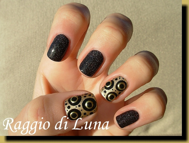 Abstract black&golden manicure with studs nail art by Tanja