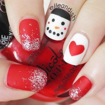 Christmas Nails:  Matte Snowman nail art by elleandish