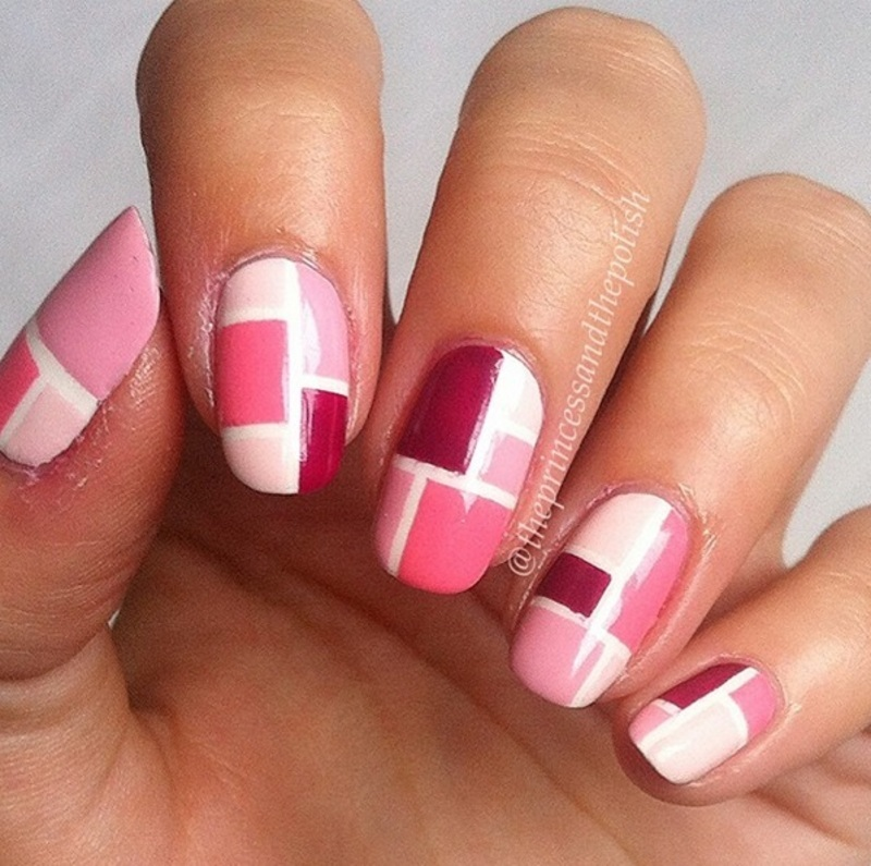 Pink Blocks nail art by Alexandra
