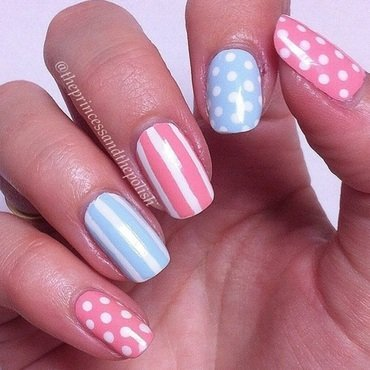 Spots and Stripes nail art by Alexandra