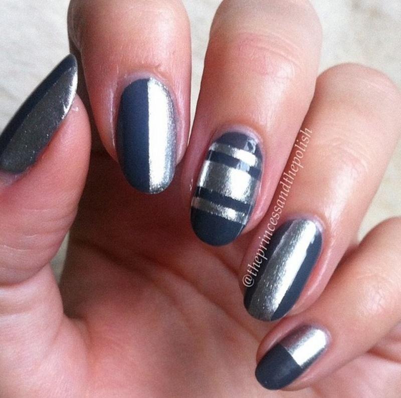 Grey and SIlver tape mani nail art by Alexandra