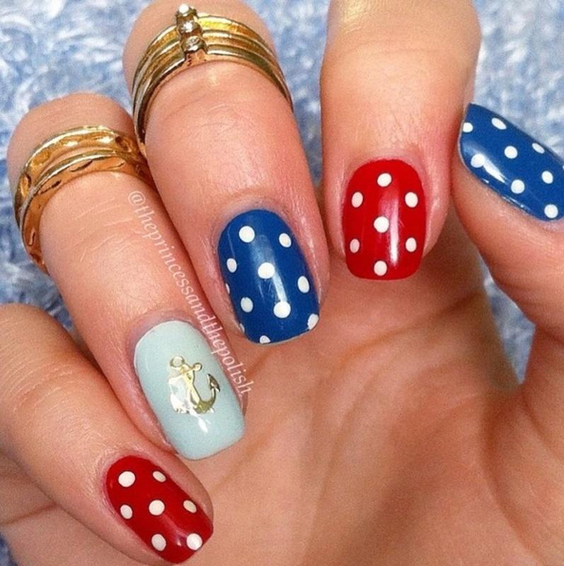 Nautical Polkadots with Anchor Embellishment nail art by Alexandra