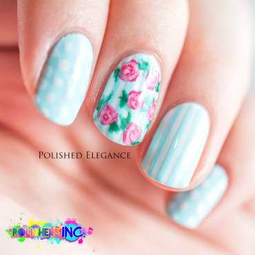 Vintage roses nail art by Lisa