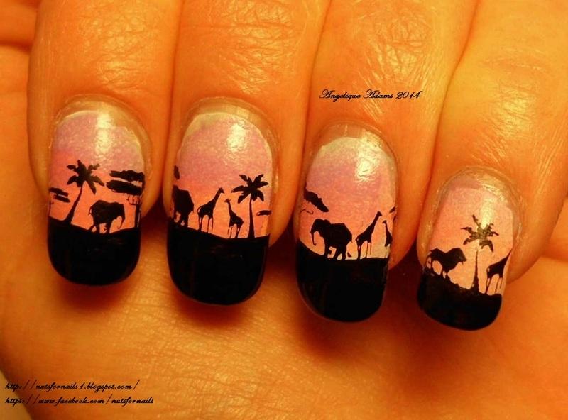 Safari nail art by Angelique Adams