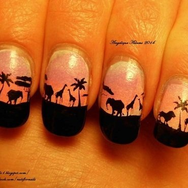 Safari nail art by Angelique Adams