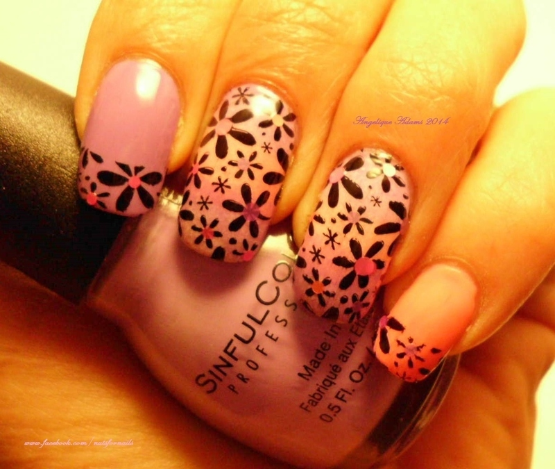 Pink and Purple Floral  nail art by Angelique Adams