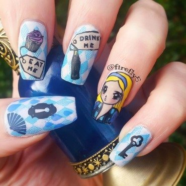 Alice in Wonderland nail art by Ruth Cox (@firefly5)