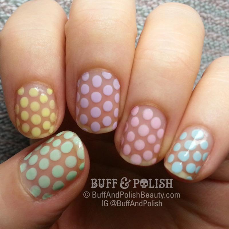 Pastel Polka Dots on Transparent Base nail art by Buff & Polish