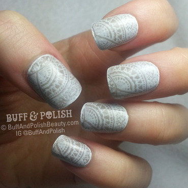 Delicate Lace Print with a Fine Edge Border nail art by Buff & Polish