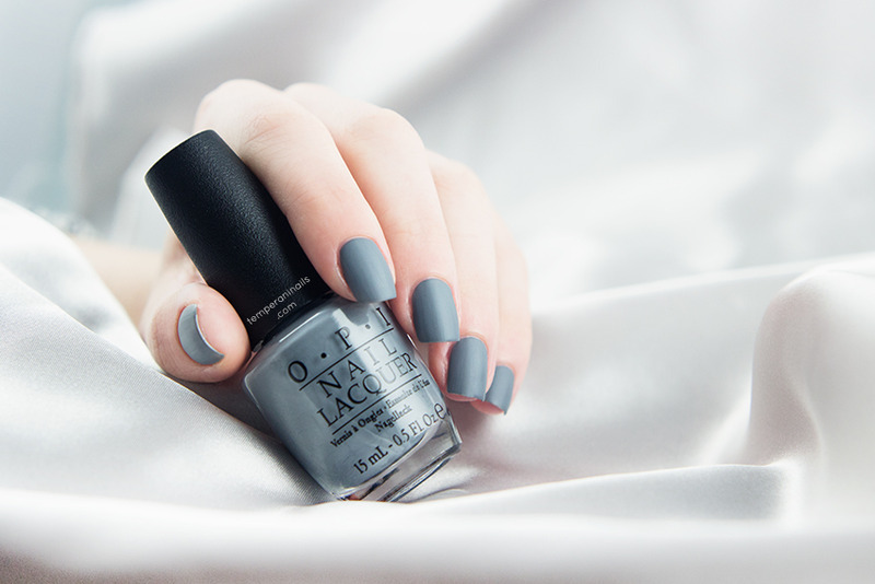 OPI Matte top coat and OPI Embrace the Gray Swatch by Temperani Nails
