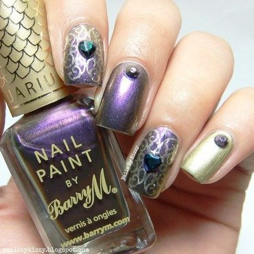 Purple and Gold nail art by Kizzy
