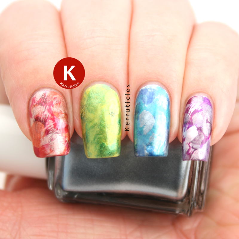 Metallic brush stroke skittle nail art by Claire Kerr