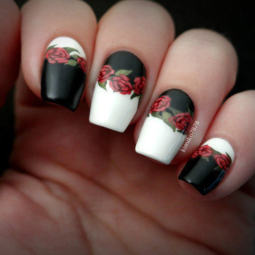 Black and White Roses (robin Moses Inspired) nail art by Kim
