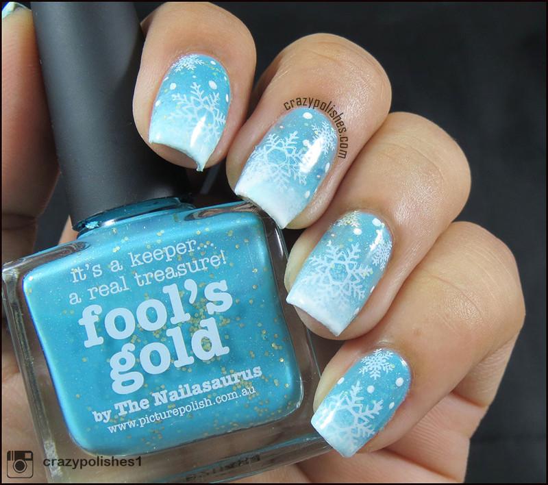 Snowflakes nail art by CrazyPolishes (Dimpal)